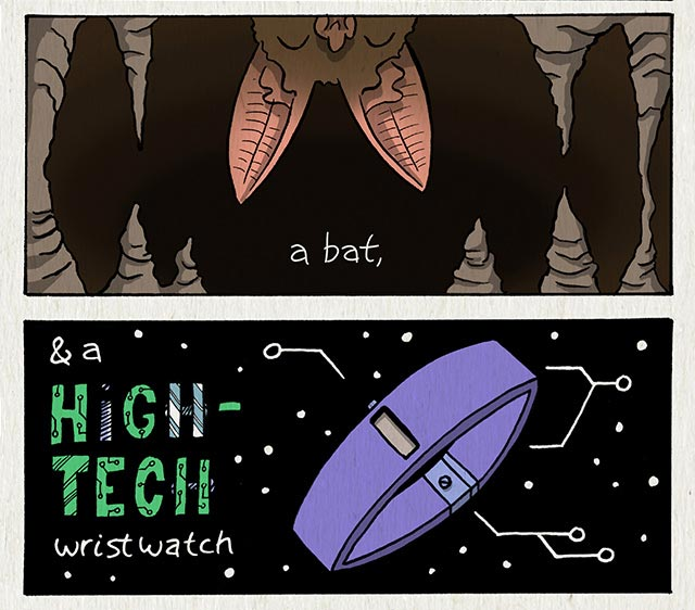 a bat, and a high-tech wristwatch.