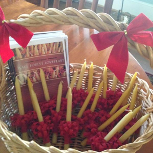Lovefeast preparations in basket