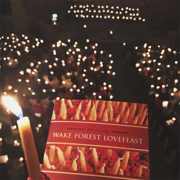 Lovefeast program and twinkling lights