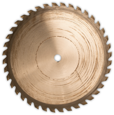Spinning saw blade representing the number 0 in the animation