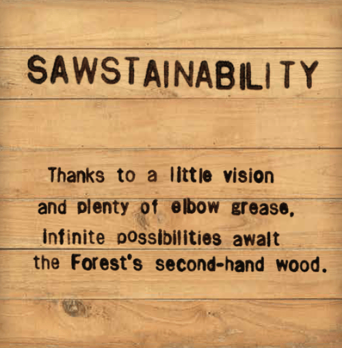 Sawstainability - Thanks to a little vision and plenty of elbow grease, infinite possibilities await the Forest's second-hand wood.