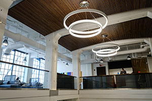 Upstairs lounge view of the ceiling lights.