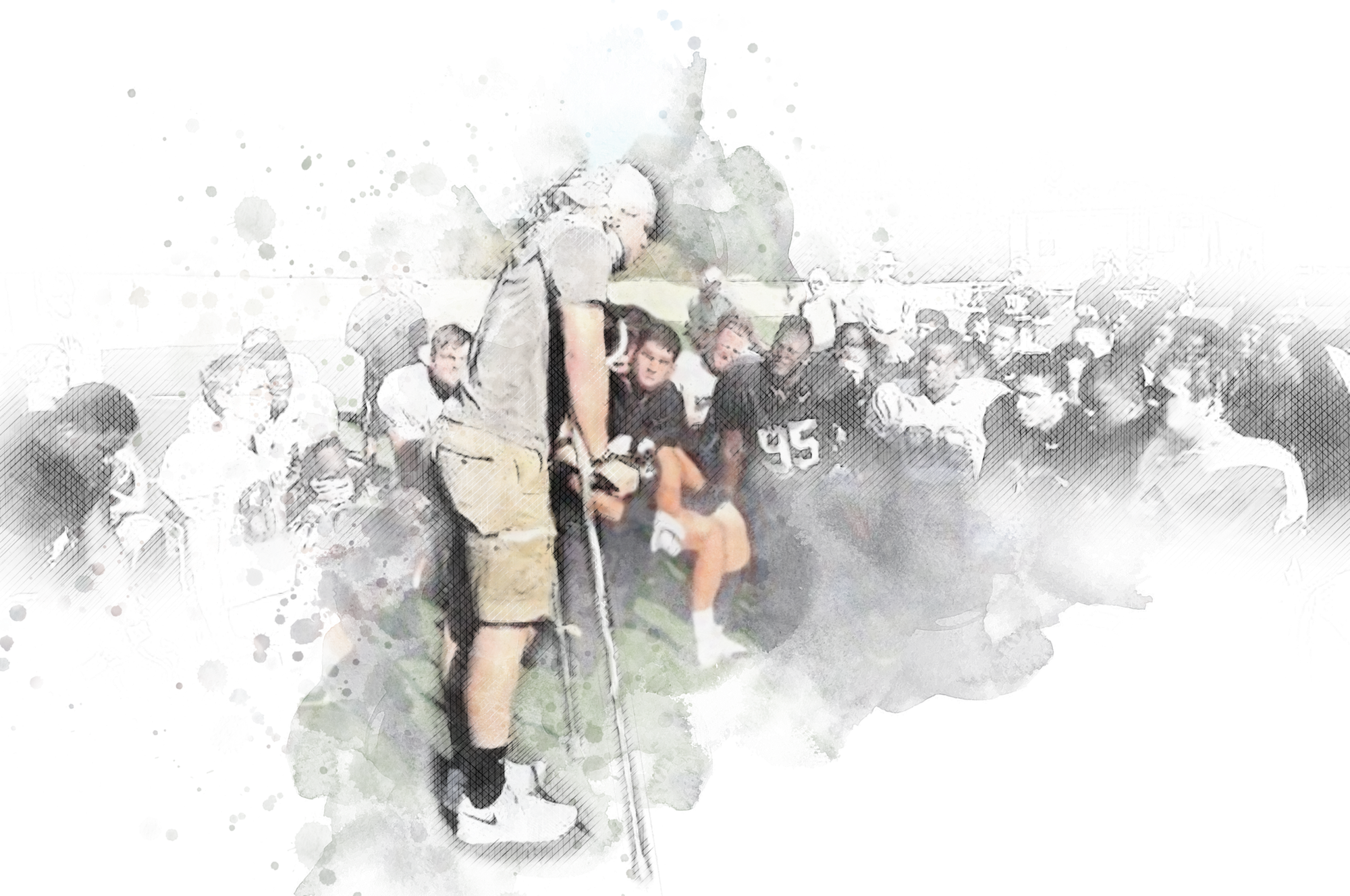 Water color image of Zach Gordon leaning on crouches on the field with his teammates