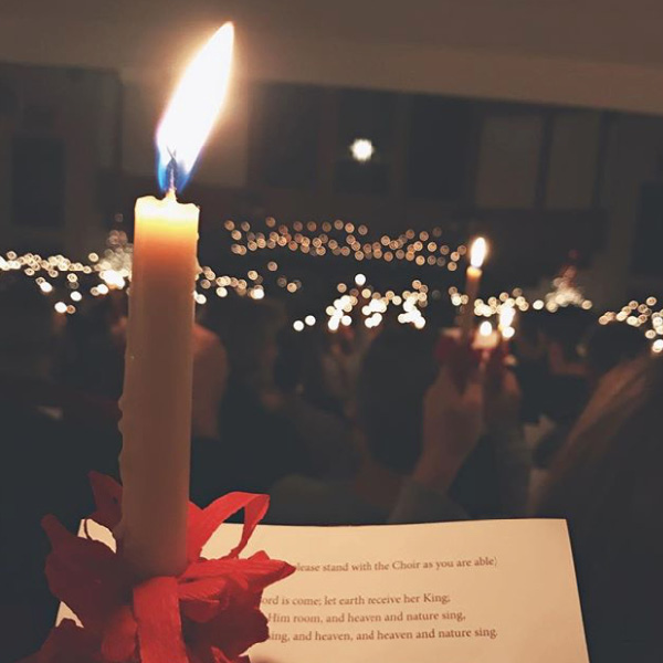 Lovefeast candle closeup