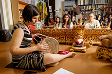 Members of the Wake Forest community play Wake Forest's new gamelan