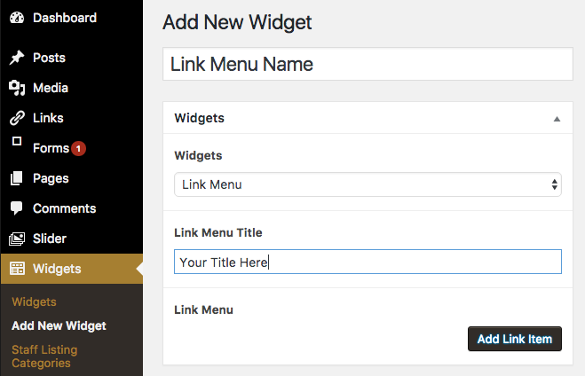 Link Menu interface