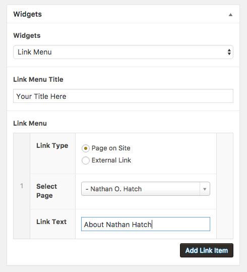 link menu page on site name
