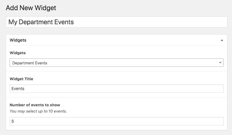 Department widget creation