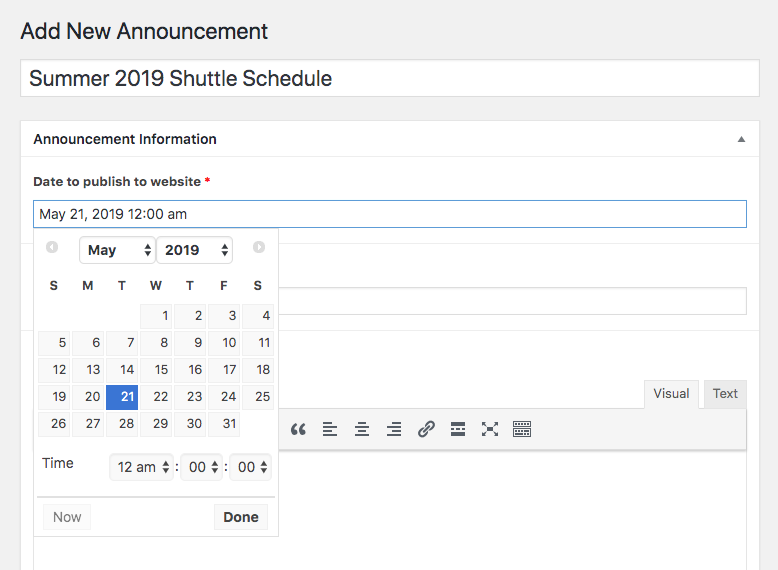 Date picker announcements