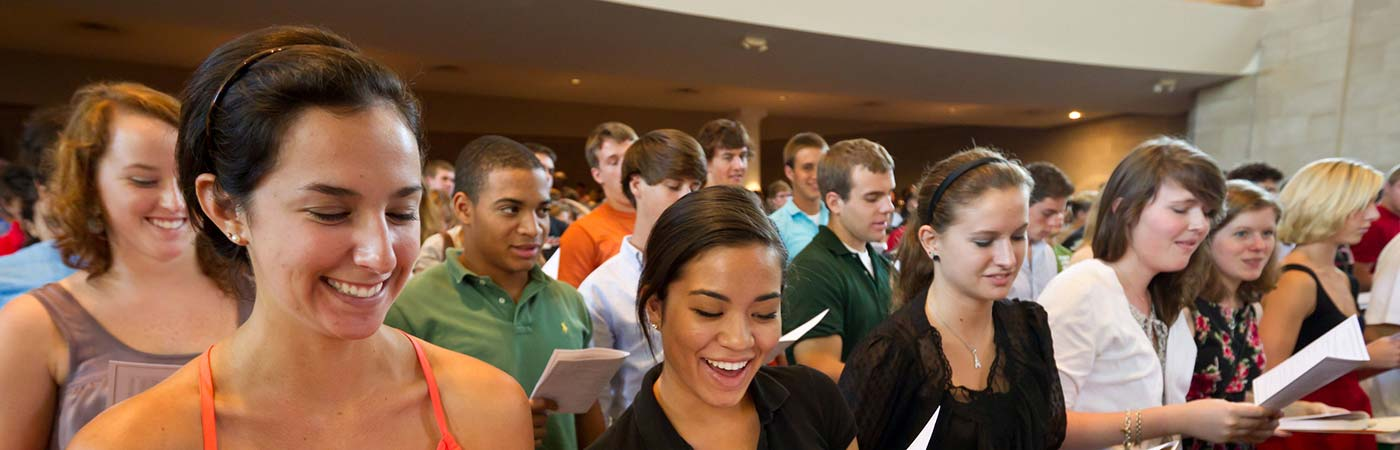 Wake Forest freshmen and their parents attend New Student Convocation in Wait Chapel