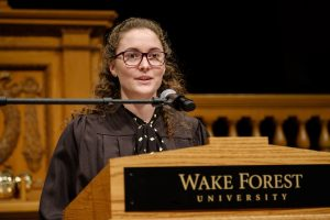 Photo of Rose O'Brien giving her Senior Oration.