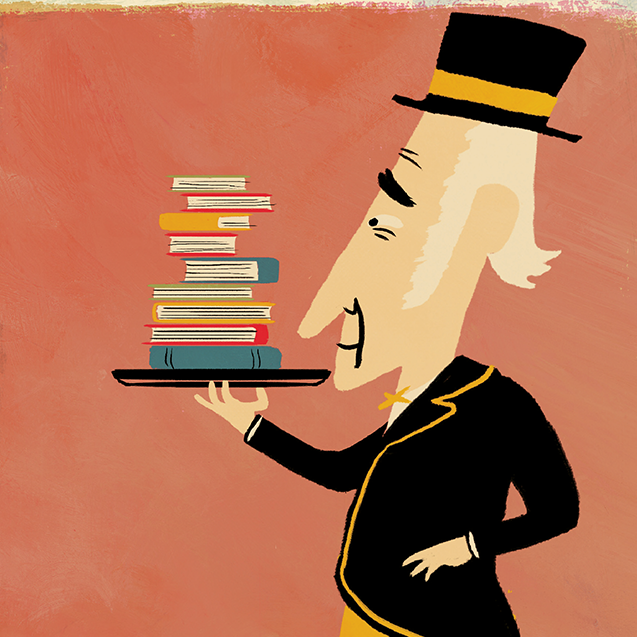 Deacon carrying a tray of books illustration