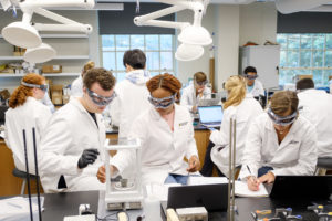 Students in their chemistry lab.