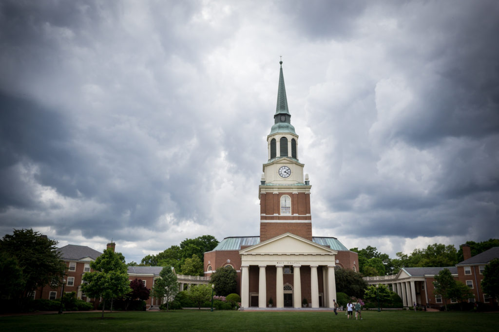 Storm clouds over Wait Chapel.