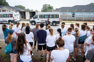 Wake Forest first year students in the SPARC pre-orientation program volunteer at a Habitat for Humanity build site in Winston-Salem on Tuesday, August 21, 2018.
