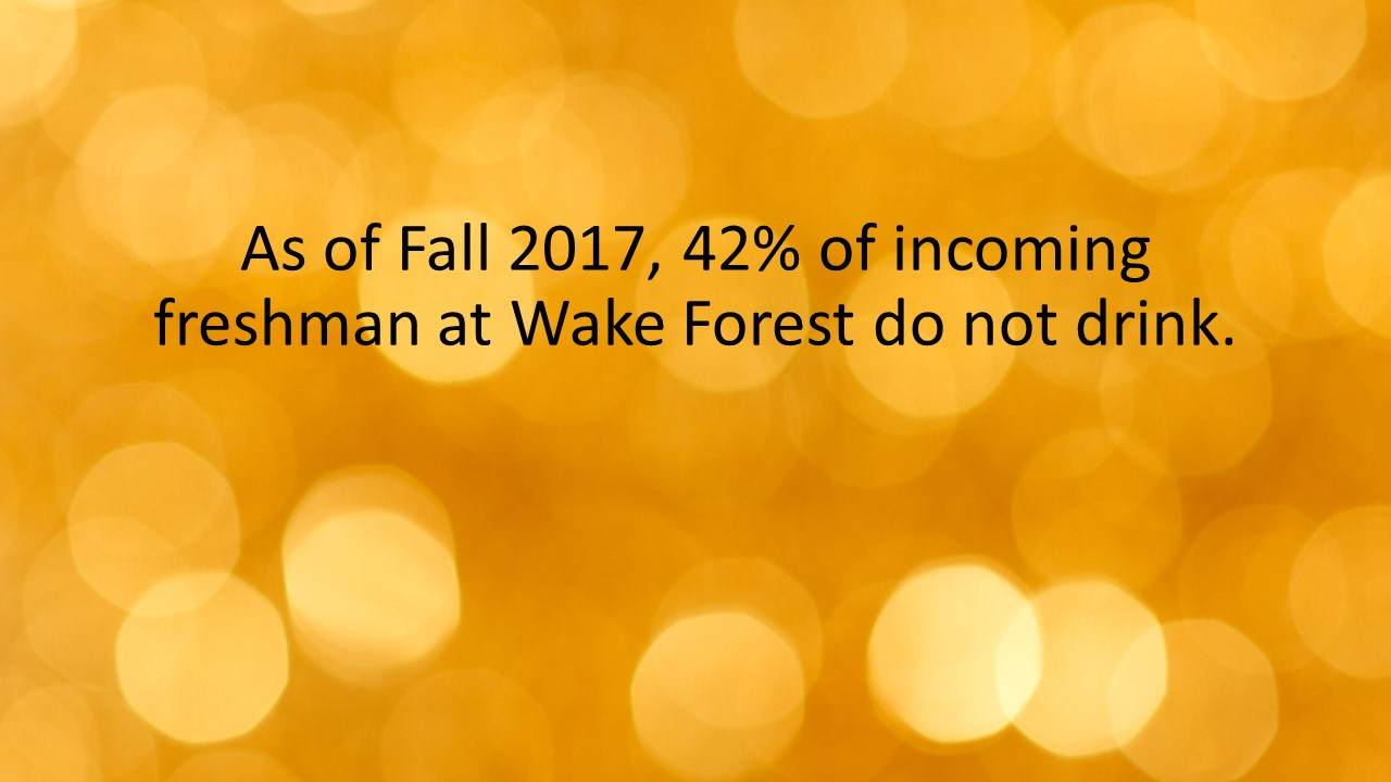 As of Fall 2017, 42% of incoming freshman at Wake Forest do not drink.