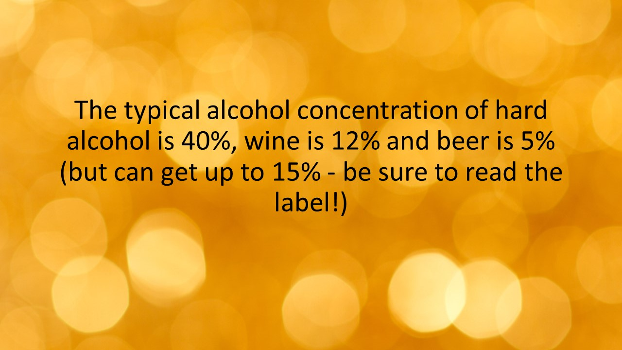 The typical alcohol concentration of hard alcohol is 40%, wine is 12% and beer is 5% (but can get up to 15% - be sure to read the label!)