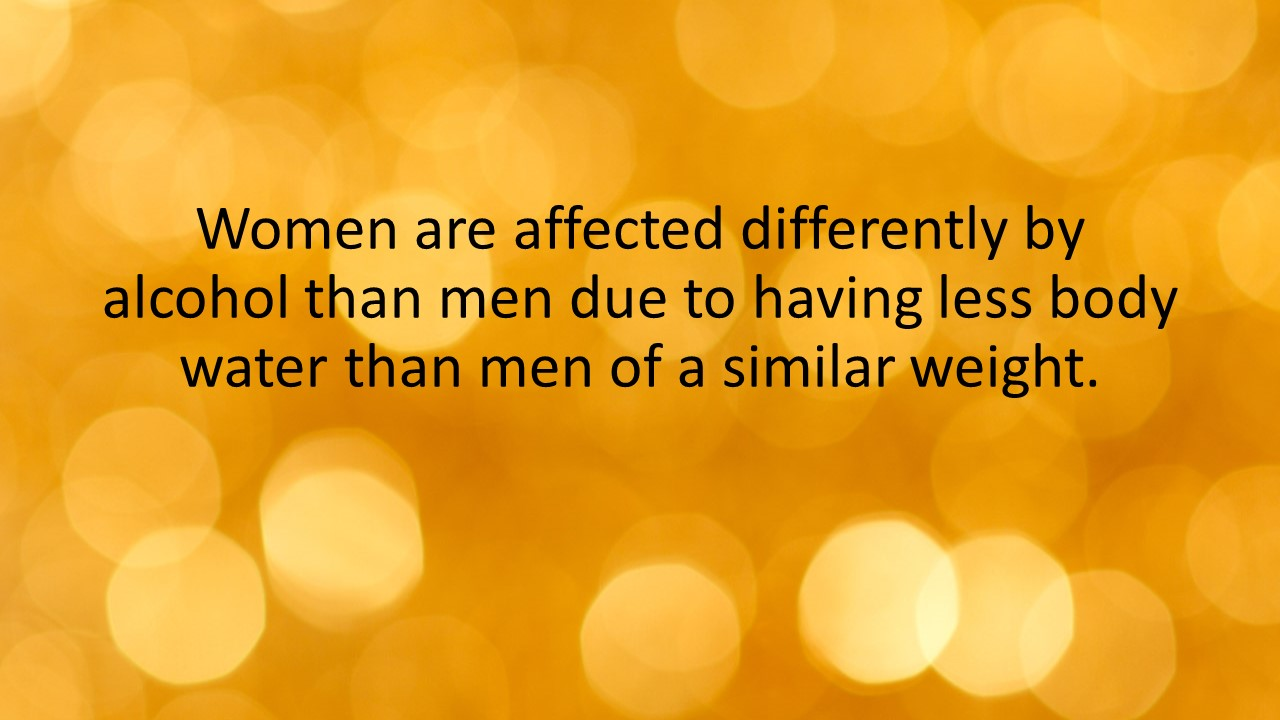 Women are affected differently by alcohol than men due to having less body water than men of a similar weight.