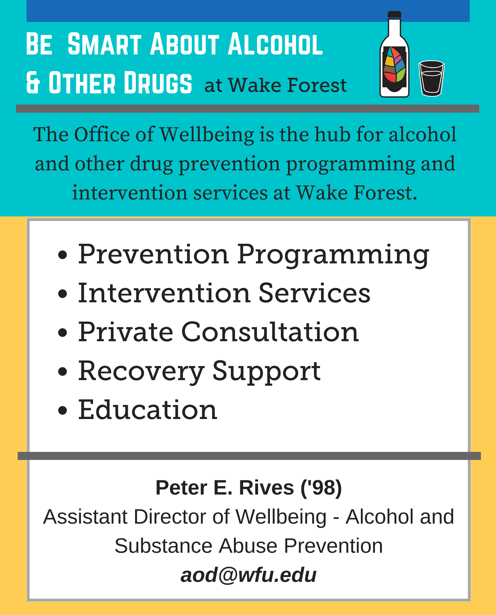 Office of Wellbeing is the hub for alcohol and other drug services and programs at WFU