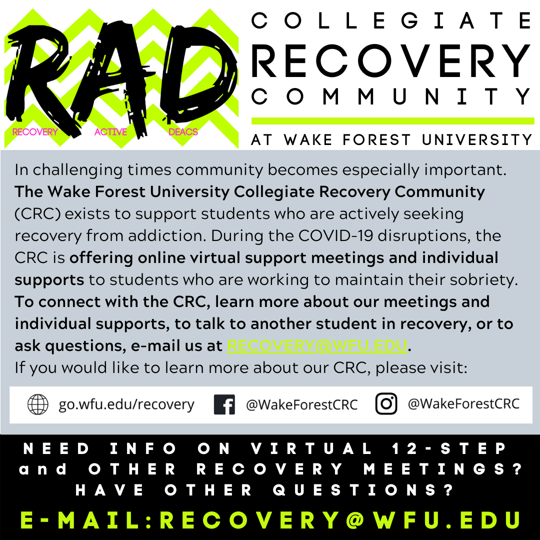 COVID-19 CRC Offerings. E-mail recovery@wfu.edu