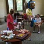 Birthday celebrations for Johnson Hall students with RA Ben and Snowy, 2014
