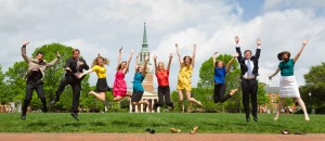 A fun pose in front of Wait Chapel