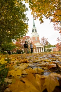 Fall leaves cover the brick walkways on Hearn Plaza, with Wait Chapel in the background, on the campus of Wake Forest University, Tuesday, October 26, 2010