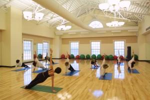 Yoga class held in the Miller Center at Wake Forest University, Wednesday, December 12, 2001. (WFU/Ken Bennett)
