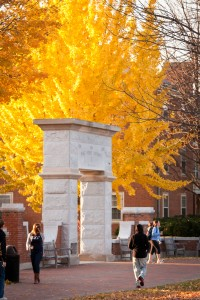 Fall leaves frame the archway on Hearn Plaza on the campus of Wake Forest University on Friday, November 19, 2010.