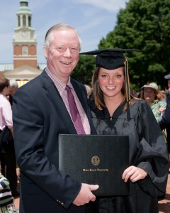 A proud father and daughter at Wake Forest University's Commencement Exercises.