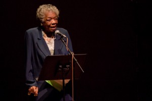 Wake Forest students perform world poetry in Brendle Recital Hall in a program directed by professor Maya Angelou.