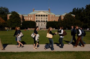 Students walk to class across Manchester Plaza on the campus of Wake Forest University.