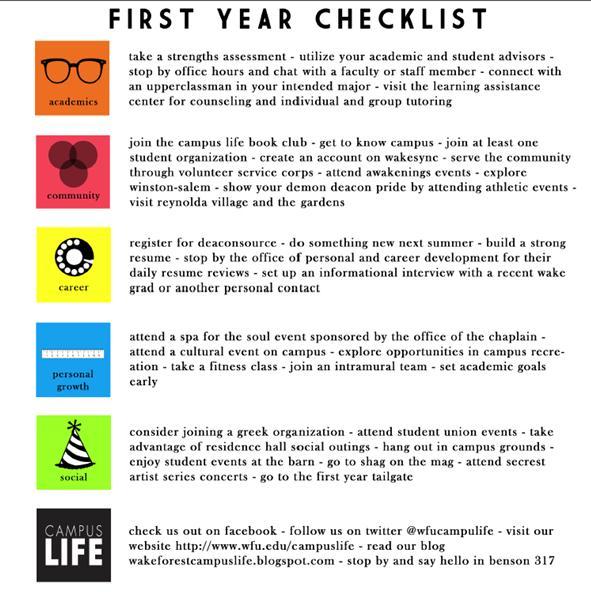 Campus Experiences Checklist