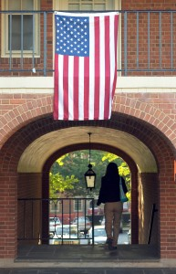 a flag on campus