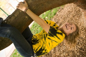 Wake Forest freshman Sarah Hines plays on a magnolia tree on Davis Field on Monday, March 26, 2007.