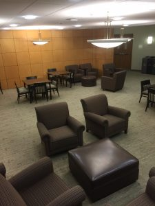 Normally this ground floor lounge would never be empty of students