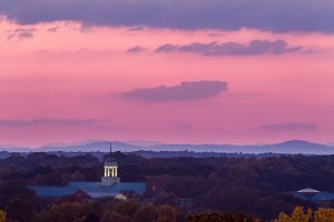 The cupola of the Z. Smith Reynolds Library rises above the trees over Wake Forest University in this image made from the top of Deacon Tower.