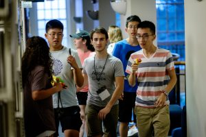 Students search for zombies as part of the ZSR Library's Humans vs. Zombies event