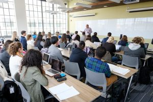 Wake Forest chemistry professor Bruce King teaches the first meeting of his organic chemistry class in the new Wake Downtown facility on Tuesday, January 10, 2017.