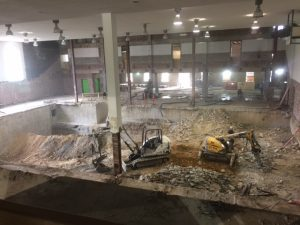 The former pool area of Reynolds Gym undergoing construction (or destruction) as part of the renovation of the gym