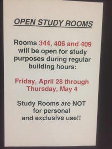 Open study rooms notice