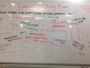 Whiteboards provide a place to leave notes and destress.