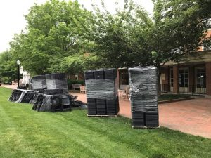 Chairs await placement for Commencement