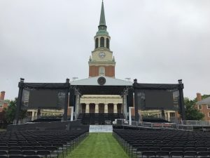 The stage as Commencement preparations are made