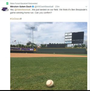 Tweet from the Winston-Salem Dash baseball team