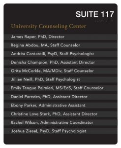 Sign for the University Counseling Center