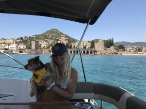 Emma Ienzer '20 and her pup in the Riviera, where they live