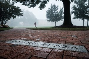 Morning fog envelopes the Wake Forest campus on Wednesday, September 13, 2017.