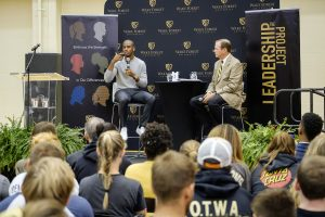 Basketball player Chris Paul talks with current student-athletes in the Miller Center as part of his Leadership Project visit to Wake Forest University on Wednesday, September 13, 2017. Athletic Director Ron Wellman has a conversation with Paul in front of the students.