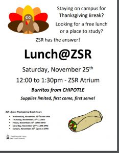 Post-Thanksgiving lunch at ZSR flyer